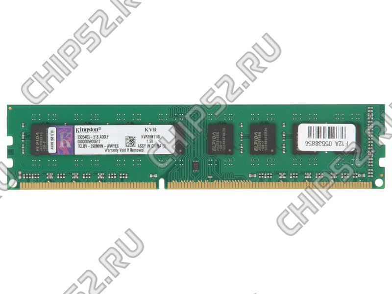 "Модуль памяти 8ГБ DDR3 SDRAM Kingston ""ValueRAM"" KVR16N11/8 (PC12800, 1600МГц, CL11) (ret)"