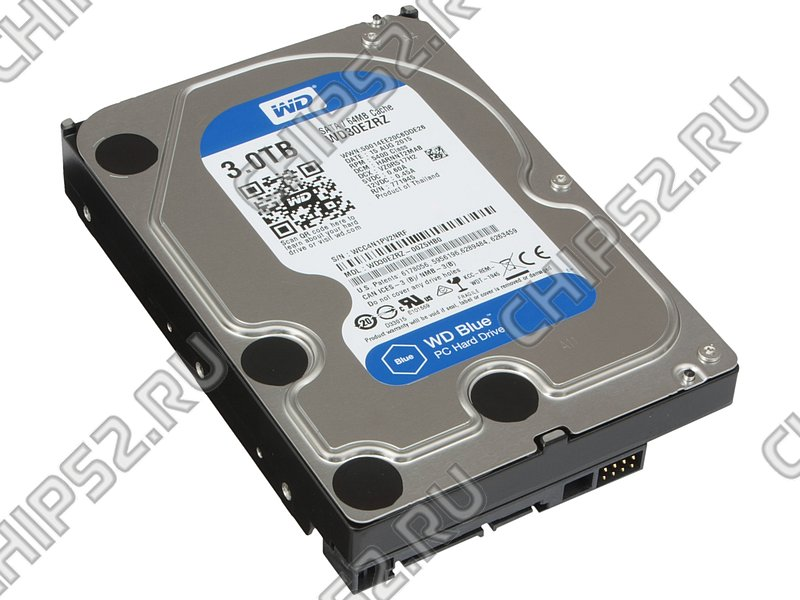 "Жесткий диск 3000ГБ Western Digital ""Blue WD30EZRZ"", 5400об./мин., 64МБ (SATA III) (oem)"